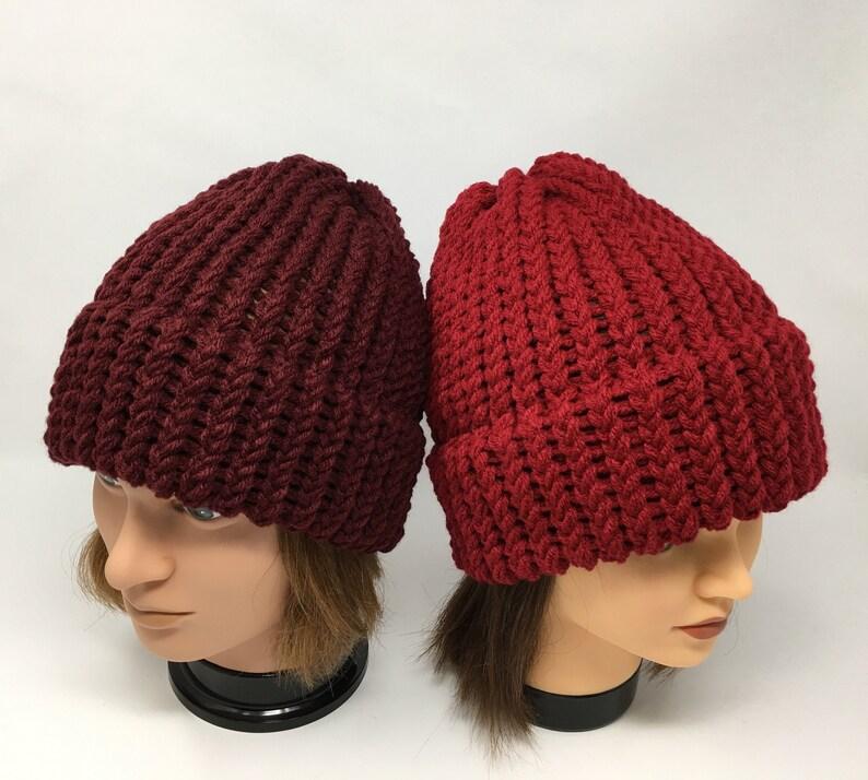 b0d75f2bf Burgundy Knit Hat, Burgundy Beanie, Winter Hat, Warm Hat, Knit Hat, Loom  Knit Hat, Knit Cap, Unisex Hat, Acrylic Knit Hat, yarnworksandmore