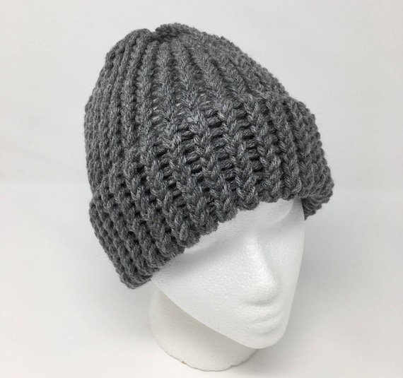 6e2bd76db58d3 Heather Gray Beanie Gray Knit Hat Winter Hat Loom Knit Hat
