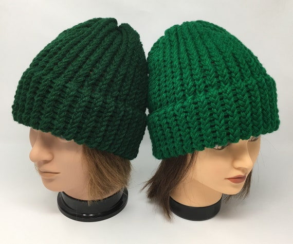 Kelly green knit beanie hat Slouchy knit beanie Womens cable knit hat Girls knit beret Knitted hat Christmas gift girl Many colors available