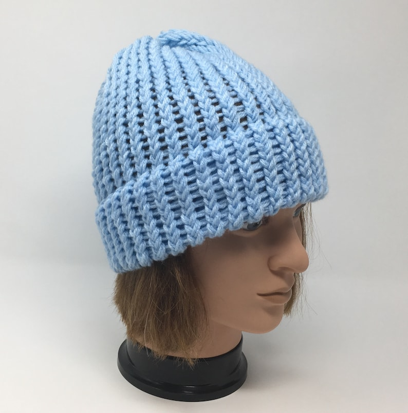 Unisex Hat Winter Hat With Or Without Pom Pom Loom Knit Hat Warm Hat Light Blue Beanie Acrylic Hat Light Blue Knit Hat Knit Hat