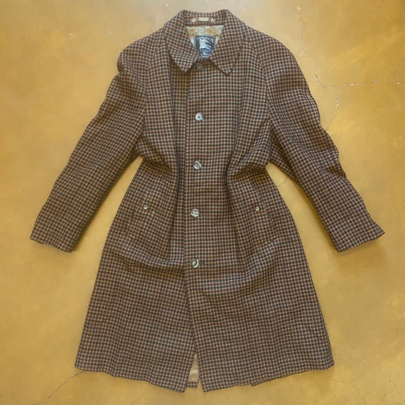 Vintage Burberry Houndstooth Coat / Trench Coat /
