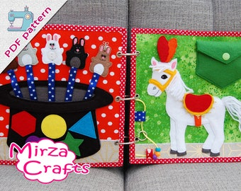 PDF Pattern & tutorial - 2 Quiet book pages Circusbook: Rabbits in the hat and Circus horse