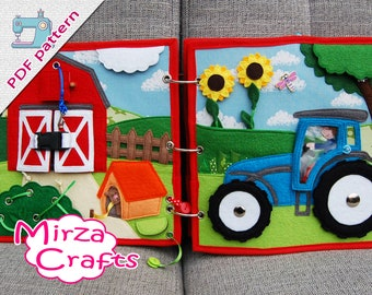 PDF Pattern & tutorial - 2 farm quiet book pages: Farm and tractor