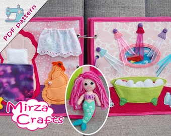 PDF Pattern & tutorial - 2 Quiet book pages Mermaid book: Bedroom and bathroom with mermaid doll
