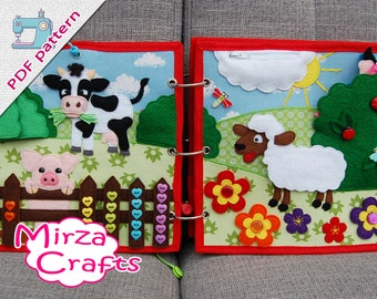 PDF Pattern & tutorial - 2 farm quiet book pages: Cow, pig and sheep