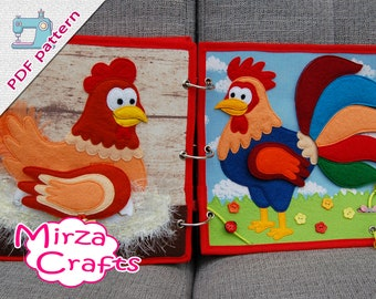 PDF Pattern & tutorial - 2 farm quiet book pages: Chicken and rooster