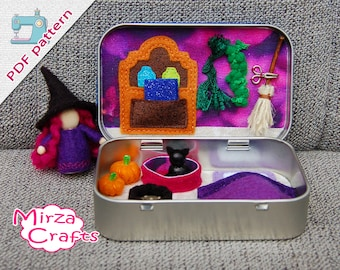 PDF Pattern & tutorial -  Little witch with cat in altoid tin box playset