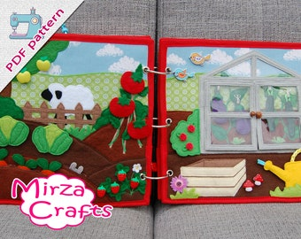 PDF Pattern & tutorial - 2 farm quiet book pages: Vegetable garden with greenhouse