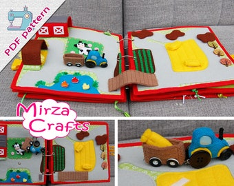 PDF Pattern & tutorial -  2 farm quiet book pages: Tractor and Traffic roads