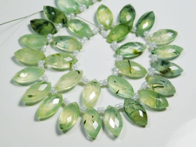 14x7mm-B2818 5 Matching Pair-Tourmalated Prehnite Faceted Marquise Briolettes-Stones measure