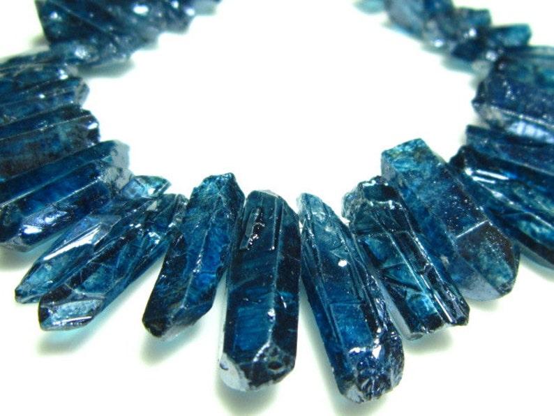 Stones measure 7 Strand 13-22mm Blue Mystic Quartz Natural Shape Sticks Crystals