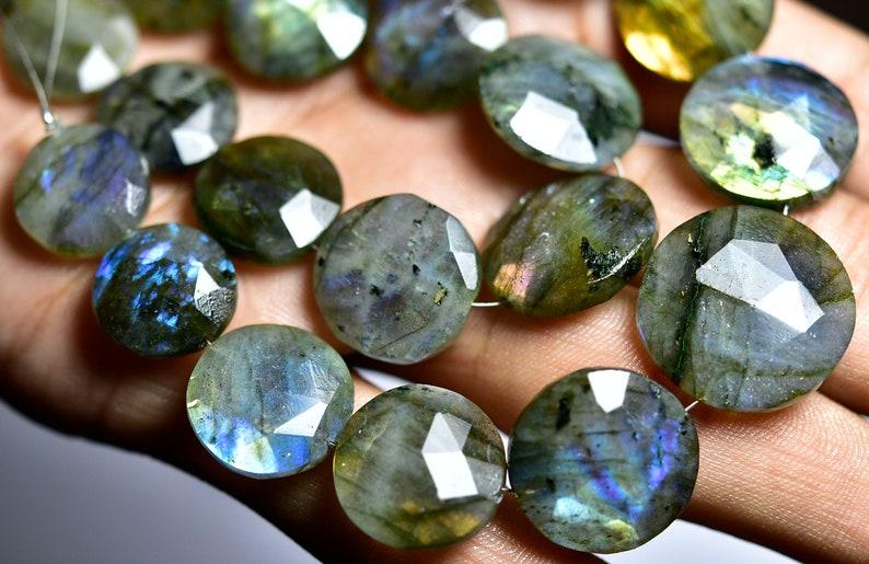 Multi Fire Labradorite Faceted Big Coin Briolettes-7 inches Strand-Stones measure-12-17mm-B3595