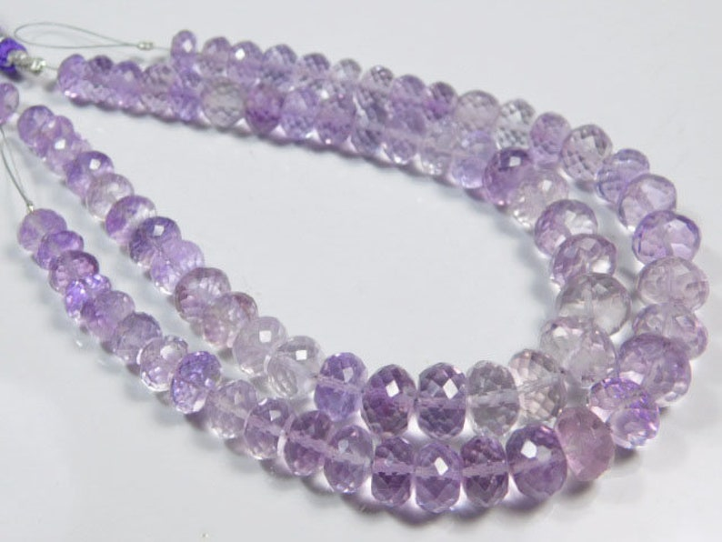 AAA-Brazilian Pink Amethyst Shaded Faceted Large Rondelles-8inches Strand-Stones measure 7-10mm-B2512