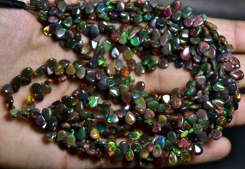 AAA-Flashy Black Ethiopian Welo Opal Smooth Pear Briolettes-8 inches Strand-Stones measure-6x4.50-7x5mm-B3545