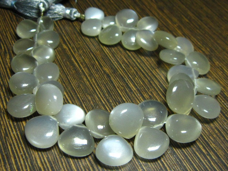 Stones measure 9-15mm-B2033 AAA-Gray Moonstone Smooth Big Heart Briolettes 7 Strand