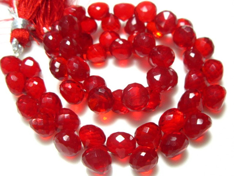 7mm Stones measure Fire Opal Red Quartz Glass Faceted Onion 7 Strand