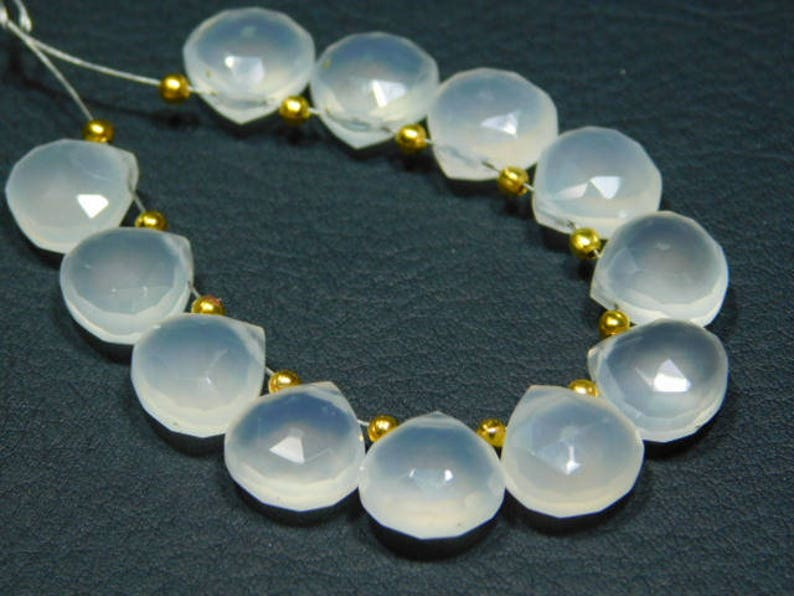 5 Matching Pair-White Chalcedony Faceted Heart Briolette Stones measure 10mm