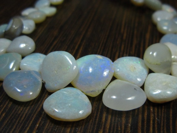 "Natural Australian Opal Smooth Heart Briolette- 7.50"" Strand -Stones measure- 5-10mm"