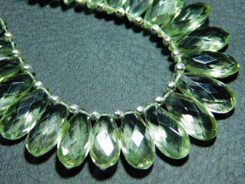 15x7mm. 3 Matching Pair-Green Amethyst Faceted Flat Pear Teardrop Briolette-Stones measure