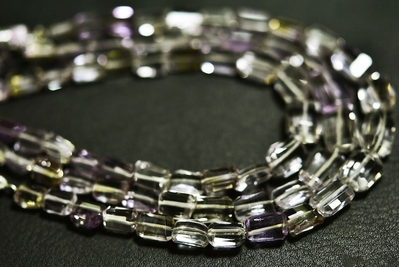 AAA-Ametrine Pink Amethyst Step Cut Faceted Nuggets-8 inches Strand-Stones measure-7-11mm-B3330
