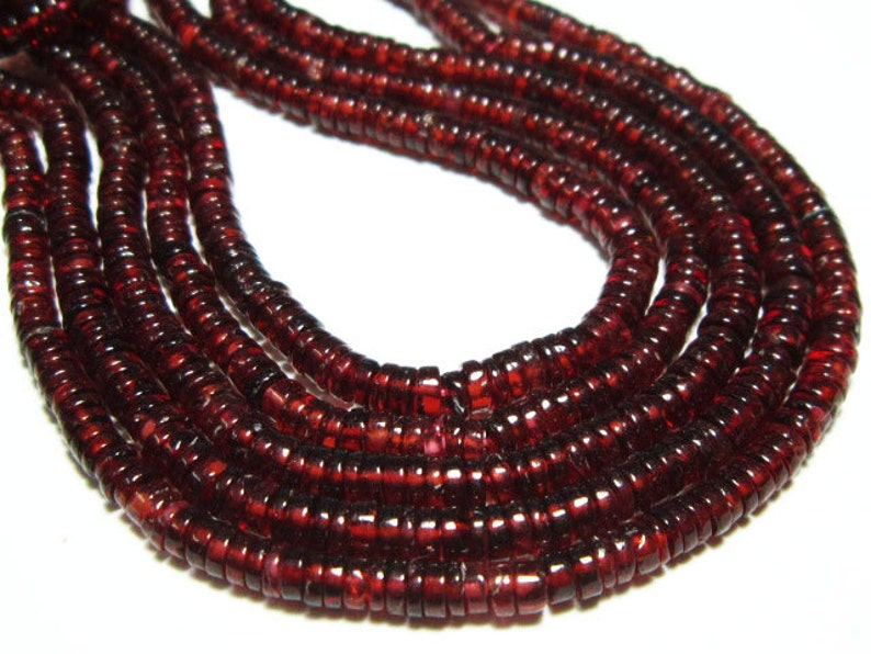 """14/"""" strand red AAA MOZAMBIQUE GARNET smooth gem stone rondelle beads 3mm 4mm"""