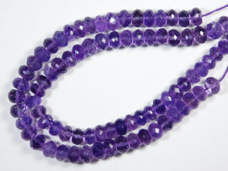 African Amethyst Faceted Big Rondelles-8inches Strand-Stones measure 8mm-B2866