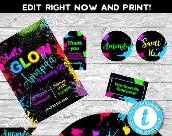 glow party invitation glow birthday glow invitationglow etsy