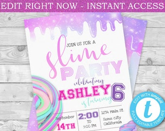 slime invitation etsy