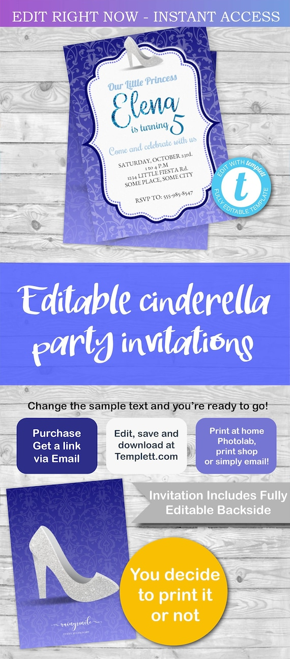 cinderella invitation template editable cinderella party etsy