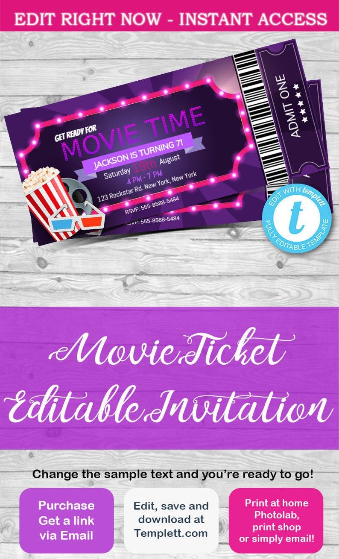Movie Ticket Invitation Movie Night Cinema Invitation Etsy