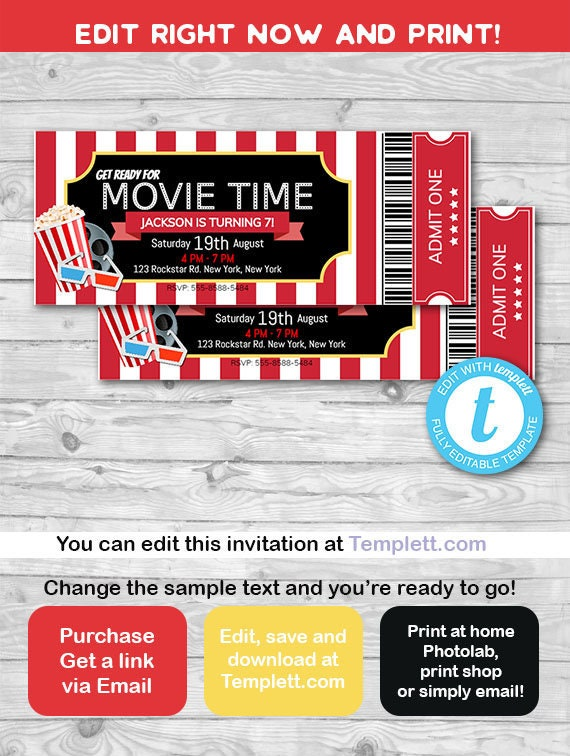 movie ticket invitation movie night cinema invitation etsy