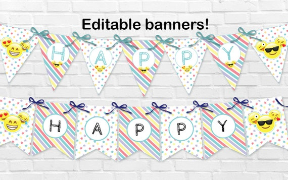 Emoji Party SET Birthday Theme Emojis INSTANT DOWNLOAD Edit And Print With Templett Free Demo