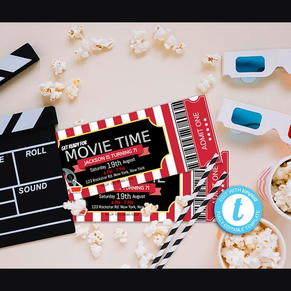 movie ticket invitation movie night cinema invitation birthday