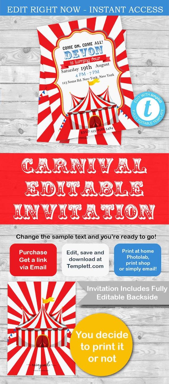 circus invitations carnival invitation circus party carnival