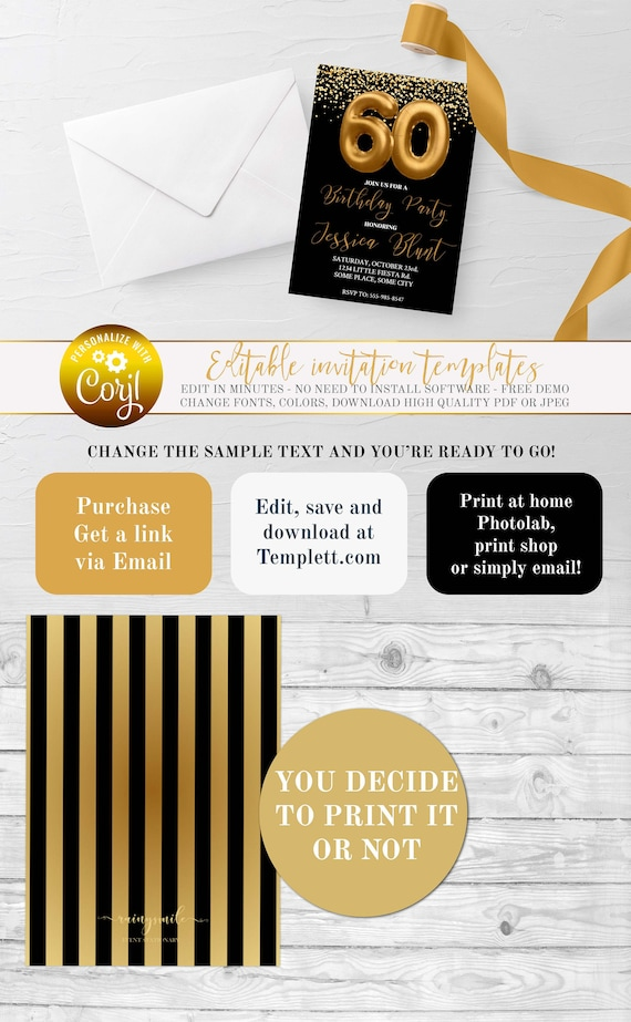 60th Birthday Party, Foil Gold Invitation, Adult Party Invitations, Foil  gold Birthday, Adult Invites, 60th Invitations, Black and Golden