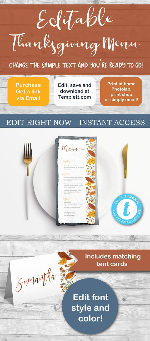 Thanksgiving Menu And Place Cards Tent Cards Autumn Menu Etsy
