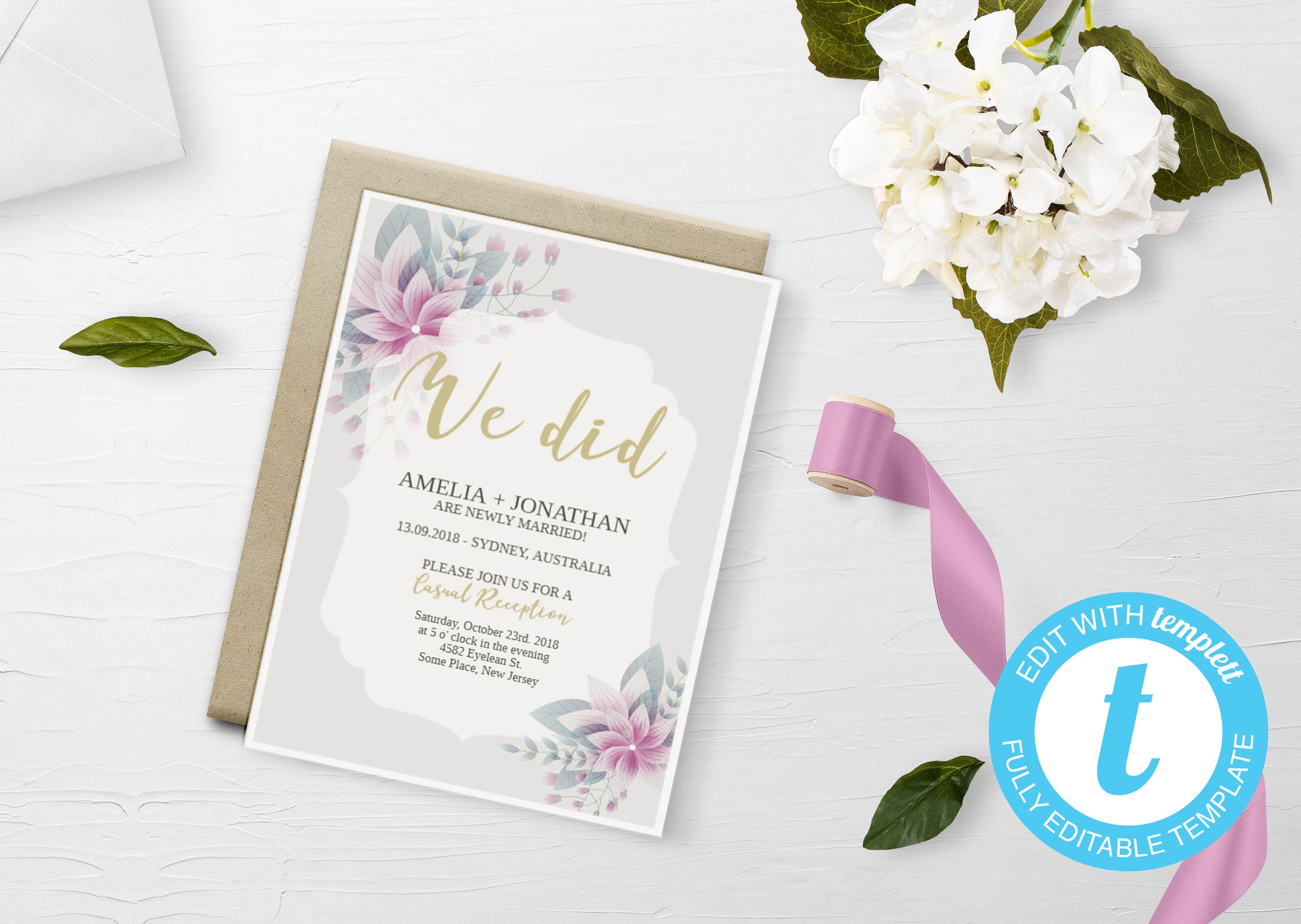 Elopement Invitation We Eloped Eloped Announcement Eloped Etsy