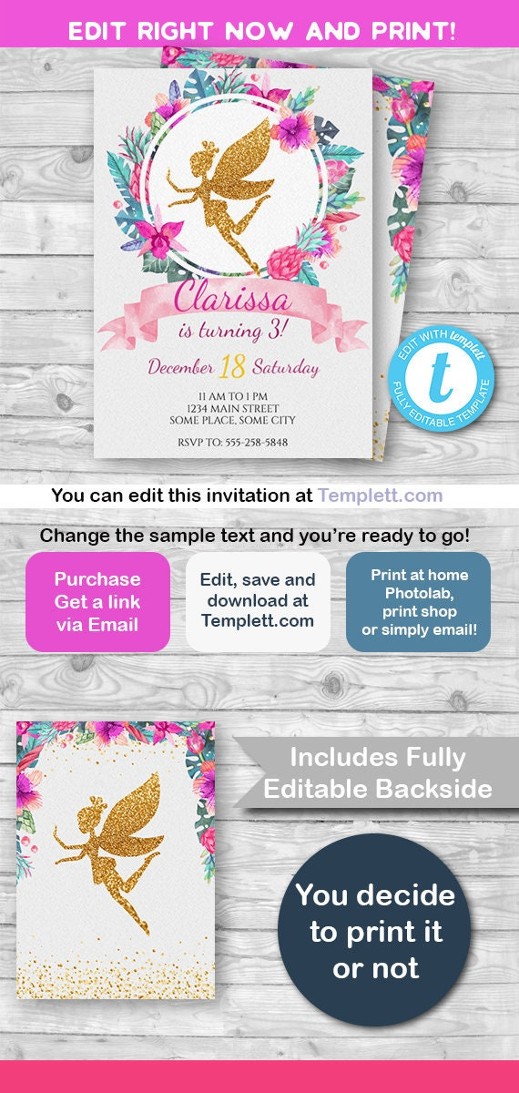 Fairy Birthday Invitation Party Invite