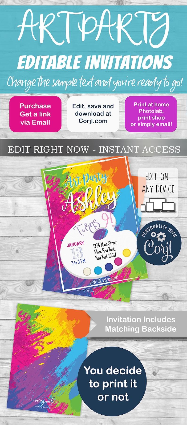 Art Party Invitation Invite Birthday INSTANT DOWNLOAD Edit Print With Corjl Free Demo