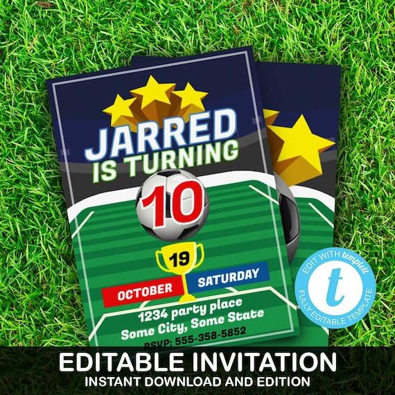 Soccer Invitation Soccer Invite Football Party Soccer Party