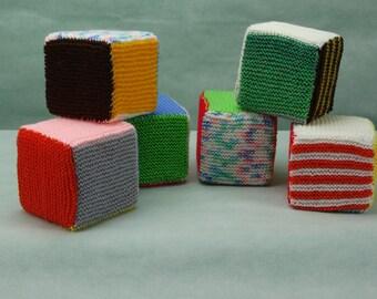 Hand Knitted foam filled blocks