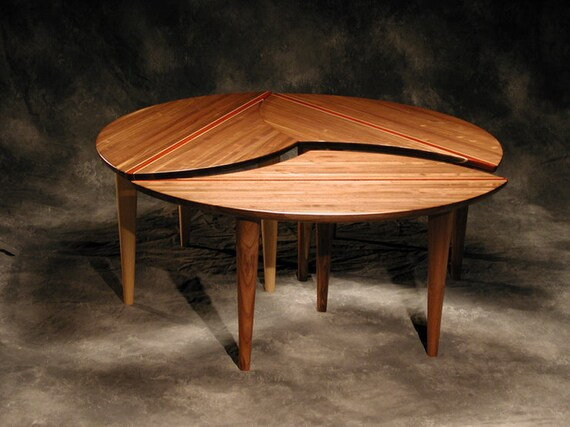 Sectional Coffee Table 3 Piece Solid Hardwood 43 Round Etsy