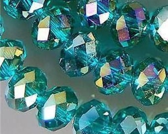 Multicolored 6 * 8mm Peacock green faceted Crystal beads