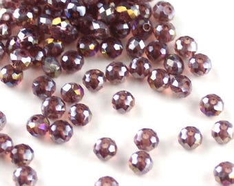 3 * 4mm AB purple faceted beads