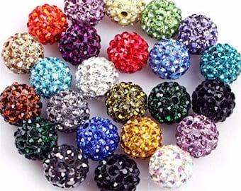 Multicolored with Rhinestone disco ball beads