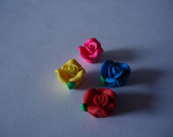 Set of 4 pink multicolor polymer clay