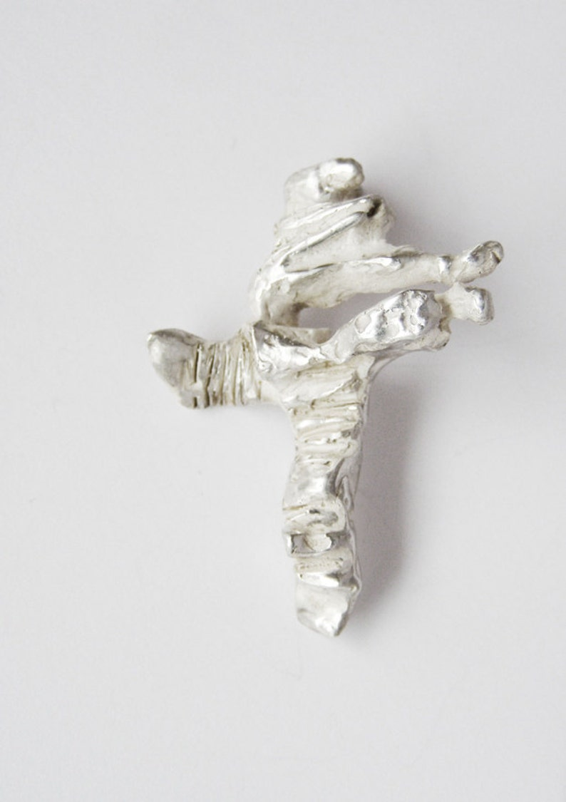 Contemporary cross pendant in silver sterling 925 for art lover