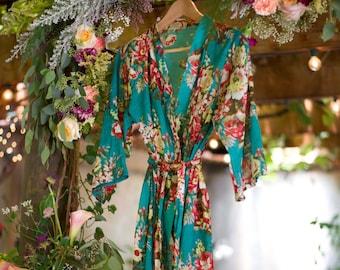 844d628b0945c Teal blue Floral kimono cross over robe