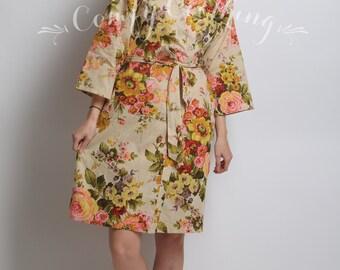 Hawaiian Robe Kimono Dress Fall Bridesmaid Robe Floral  d7c07e525
