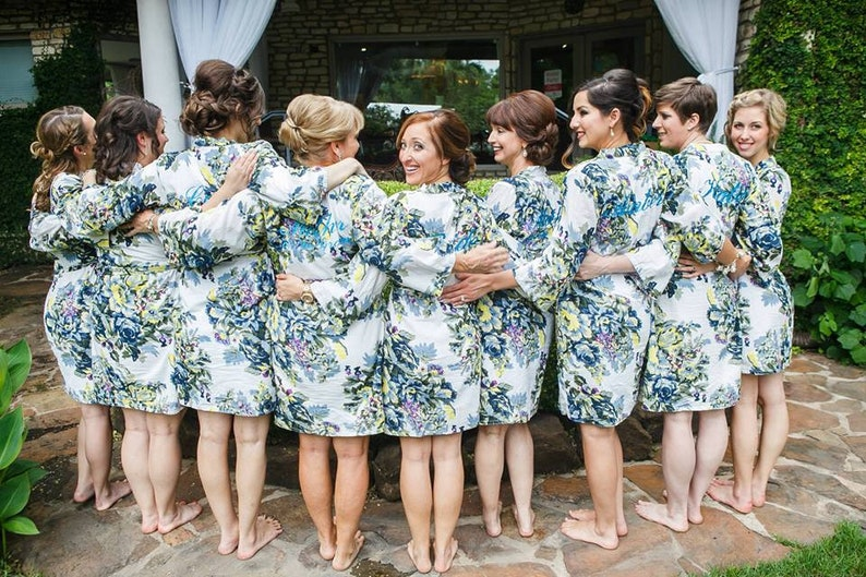 cb759db05e White floral bridal party robes bridesmaids robes bride